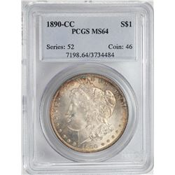1890-CC $1 Morgan Silver Dollar Coin PCGS MS64