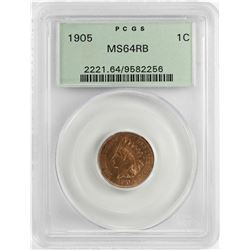 1905 Indian Head Cent Coin PCGS MS64 RB Old Green Holder