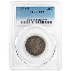 1914-S Barber Quarter Coin PCGS F12