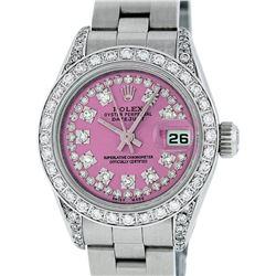 Rolex Ladies Stainless Steel Pink Diamond Lugs Oyster Quickset Datejust Wristwatch