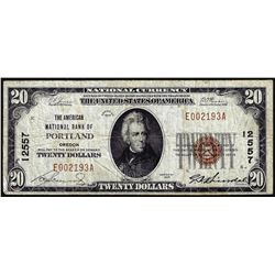 1929 $20 NB of Portland, OR CH# 12557 National Currency Note