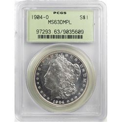 1904-O $1 Morgan Silver Dollar Coin PCGS MS63DMPL Old Green Holder