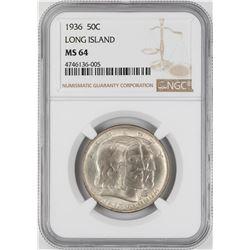 1936 Long Island Tercentenary Commemorative Half Dollar Coin NGC MS64