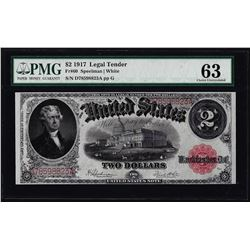 1917 $2 Legal Tender Note Fr.60 PMG Choice Uncirculated 63