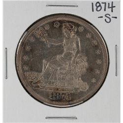 1874-S $1 Trade Silver Dollar Coin