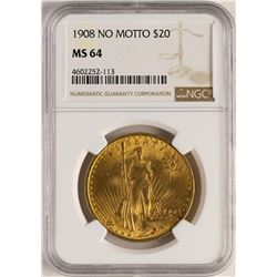 1908 $20 No Motto Saint Gaudens Double Eagle Gold Coin NGC MS64