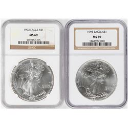 Lot of 1992-1993 $1 American Silver Eagle Coins NGC MS69