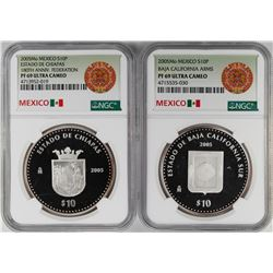 Lot of (2) 2005Mo Mexico Proof 10 Pesos Silver Coins NGC PF69 Ultra Cameo