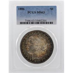 1886 $1 Morgan Silver Dollar Coin PCGS MS63 Amazing Toning