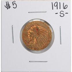 1916-S $5 Indian Head Half Eagle Gold Coin