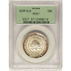 1936 Norfolk Bicentennial Commemorative Half Dollar Coin PCGS MS67 Old Green Holder