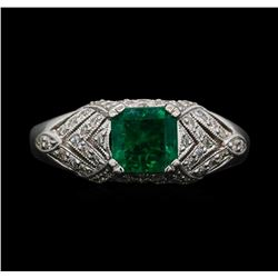 18KT White Gold 1.20 ctw Emerald and Diamond Ring