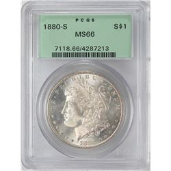 1880-S $1 Morgan Silver Dollar Coin PCGS MS66 Old Green Holder