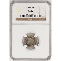 1909 Barber Dime Coin NGC MS62