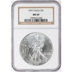 1997 $1 American Silver Eagle Coin NGC MS69