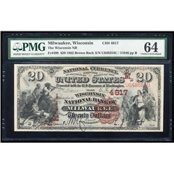 1882 Brown Back $20 Milwaukee, WI CH# 499 National Note PMG Choice Uncirculated 64