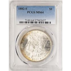 1882-S $1 Morgan Silver Dollar Coin PCGS MS64