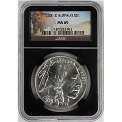 2001-D $1 Buffalo Commemorative Silver Dollar Coin NGC MS69 Black Core
