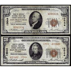 Set of 1929 $10/$20 BofA San Francisco, CA CH# 13044 National Currency Notes