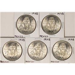 Lot of (5) 1978 Mexico Cien Pesos Silver Coins