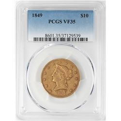 1849 $10 Liberty Head Eagle Gold Coin PCGS VF35