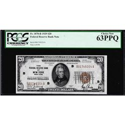 1929 $20 Federal Reserve Bank Note New York Fr.1870-B PCGS Choice New 63PPQ
