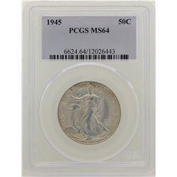1945 Walking Liberty Half Dollar Coin NGC MS64
