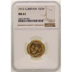 1912 Great Britain Sovereign Gold Coin NGC MS61