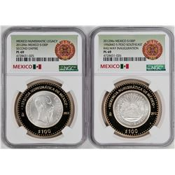 Lot of (2) 2012 Mexico Second Empire Coins NGC PL69