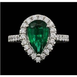 Platinum 1.90 ctw Emerald and Diamond Ring