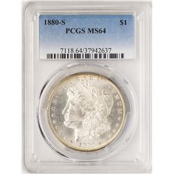 1880-S $1 Morgan Silver Dollar Coin PCGS MS64 Nice Toning