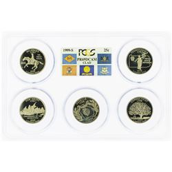 Set of 1999-S (5) Coin Proof State Quarter Coins PCGS PR69DCAM
