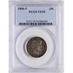1896-S Barber Quarter Coin PCGS VF35