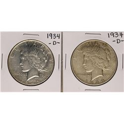Lot of (2) 1934-D $1 Peace Silver Dollar Coins