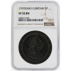 1797SOHO Great Britain 2 Pence Coin NGC VF35 BN