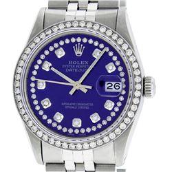 Rolex Men's Stainless Steel Purple String Diamond 36MM Datejust Wristwatch