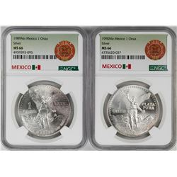 Lot of 1989-1990Mo Mexico 1 Onza Libertad Silver Coins NGC MS66