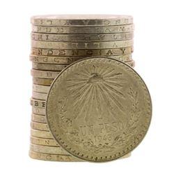 Roll of (20) Brilliant Uncirculated 1943 Mexico Un Peso Silver Coins