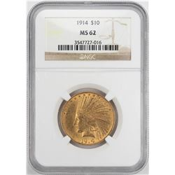 1914 $10 Indian Head Eagle Gold Coin NGC MS62