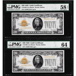 Lot of (2) Consecutive 1928 $20 Gold Certificate Notes Fr.2402 PMG Choice 58EPQ/64
