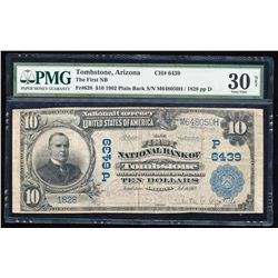 1902PB $10 Tombstone, AZ CH#6439 National Currency Note Fr.628 PMG Very Fine 30 Net