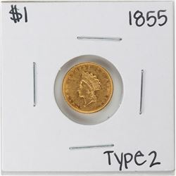 1855 $1 Type 2 Indian Princess Head Gold Dollar Coin