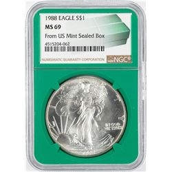 1988 $1 American Silver Eagle Coin NGC MS69 Green Core