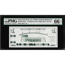 Giori Test Note Lincoln Memorial PMG Gem Uncirculated 66EPQ