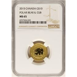 2015 Canada $10 Polar Bear Gold Coin NGC MS65