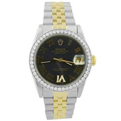 Rolex Ladies Datejust 18KT Yellow Gold & Steel 31mm Silver Roman Diamond Dial Watch