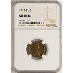 1914-S Lincoln Wheat Cent Coin NGC AU58 BN