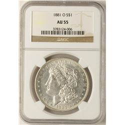 1881-O $1 Morgan Silver Dollar Coin NGC AU55