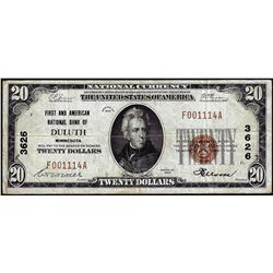 1929 $20 First American NB of Duluth, MN CH# 3626 National Currency Note