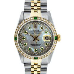 Rolex Men's Two Tone 14K MOP Emerald String Diamond Datejust Wristwatch